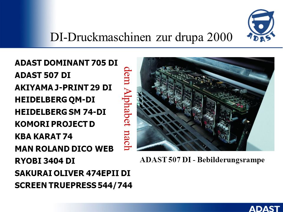 DI-Druckmaschinen zur drupa 2000