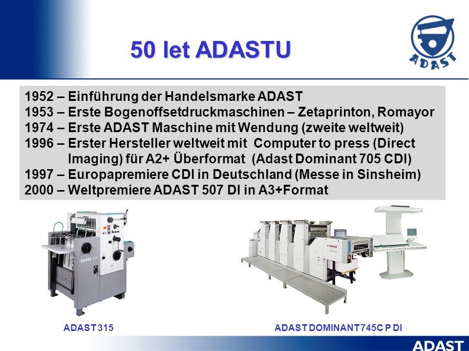 50 let ADASTU 1952 – Einführung der Handelsmarke ADAST
