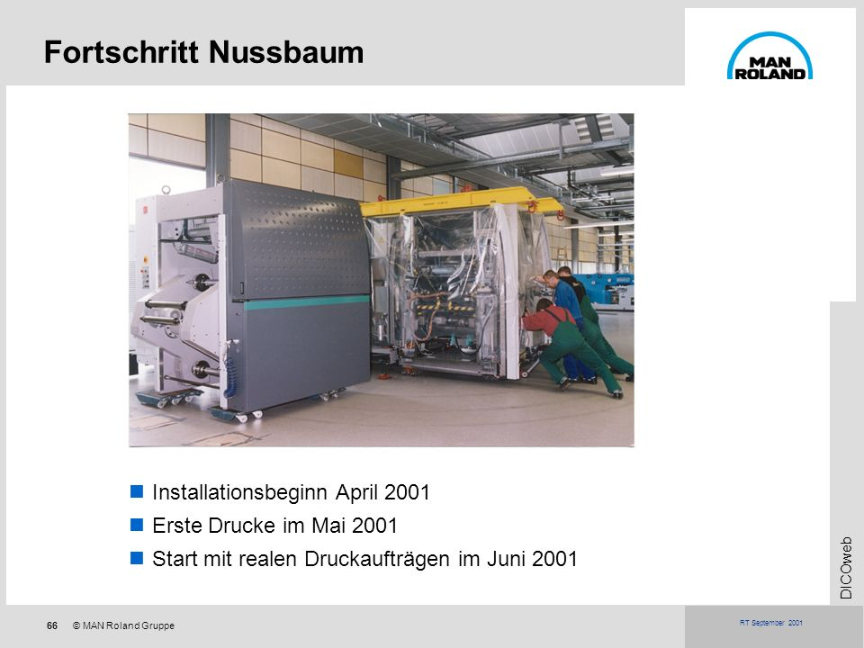 Fortschritt Nussbaum Installationsbeginn April 2001