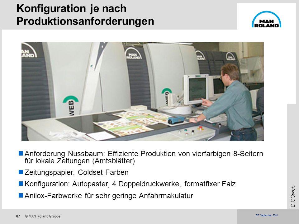 Konfiguration je nach Produktionsanforderungen