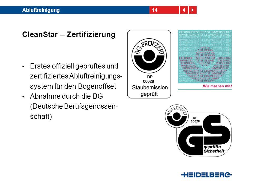 CleanStar – Zertifizierung