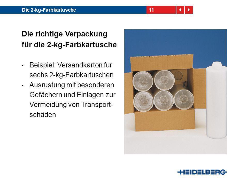 Die richtige Verpackung für die 2-kg-Farbkartusche