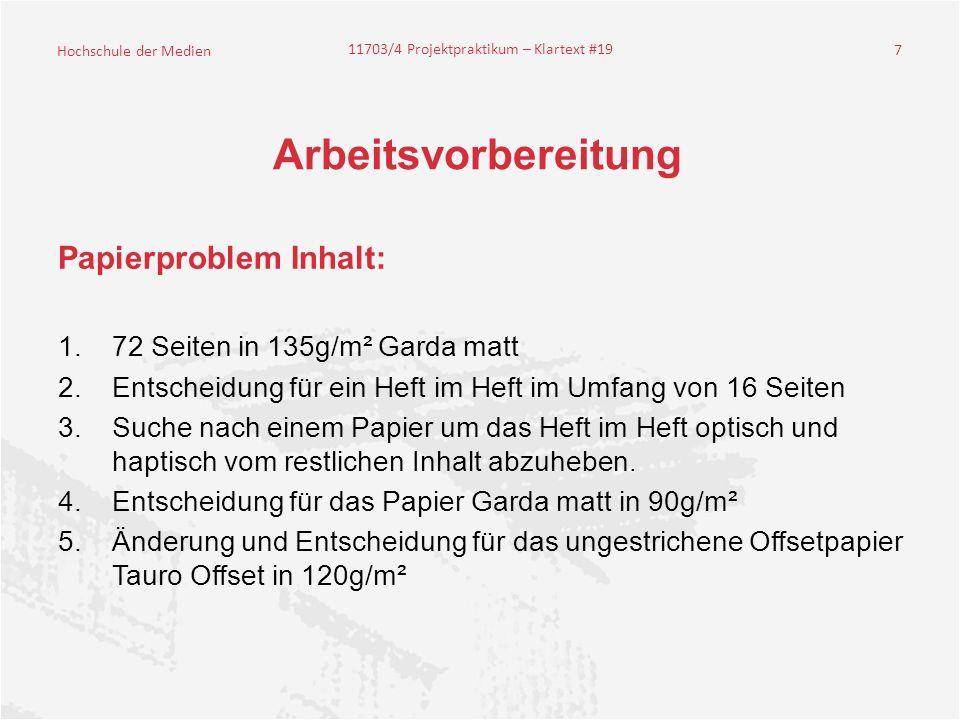 Arbeitsvorbereitung Papierproblem Inhalt: