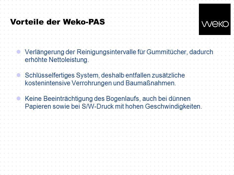 Vorteile der Weko-PAS Verlängerung der Reinigungsintervalle für Gummitücher, dadurch erhöhte Nettoleistung.