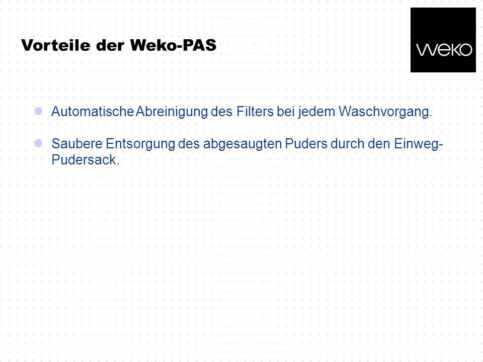 Vorteile der Weko-PAS Automatische Abreinigung des Filters bei jedem Waschvorgang.