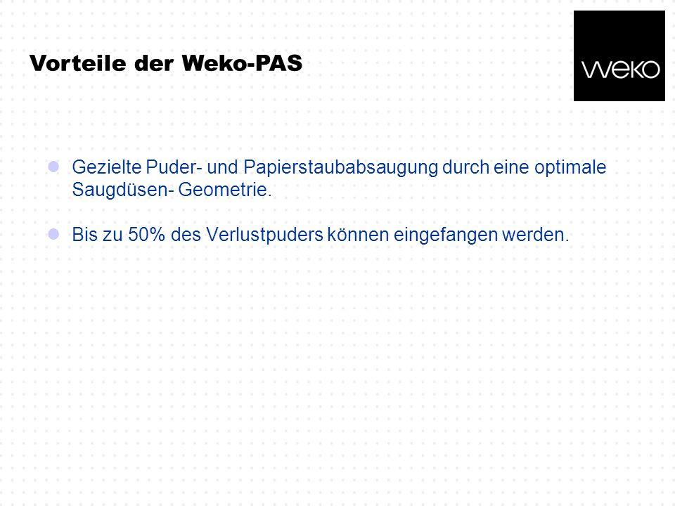 Vorteile der Weko-PAS Gezielte Puder- und Papierstaubabsaugung durch eine optimale Saugdüsen- Geometrie.