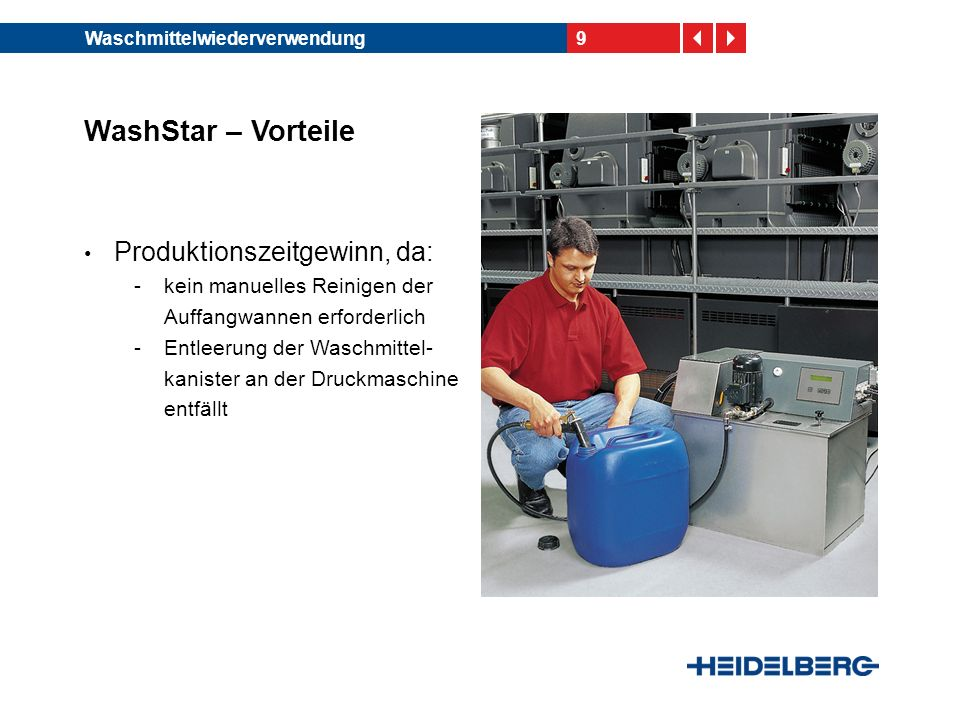 WashStar – Vorteile Produktionszeitgewinn, da: