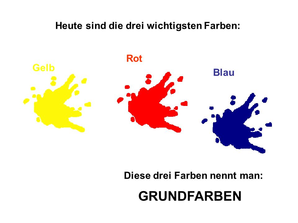 Heute sind die drei wichtigsten Farben: