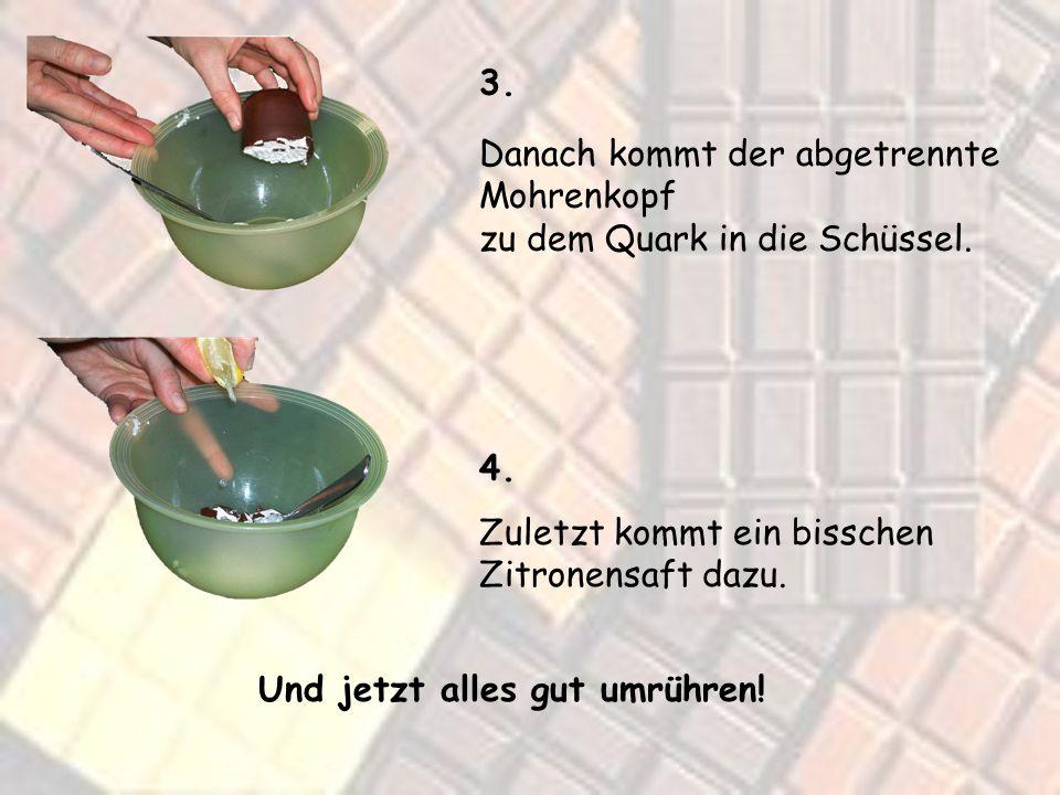 3. Danach kommt der abgetrennte Mohrenkopf zu dem Quark in die Schüssel.