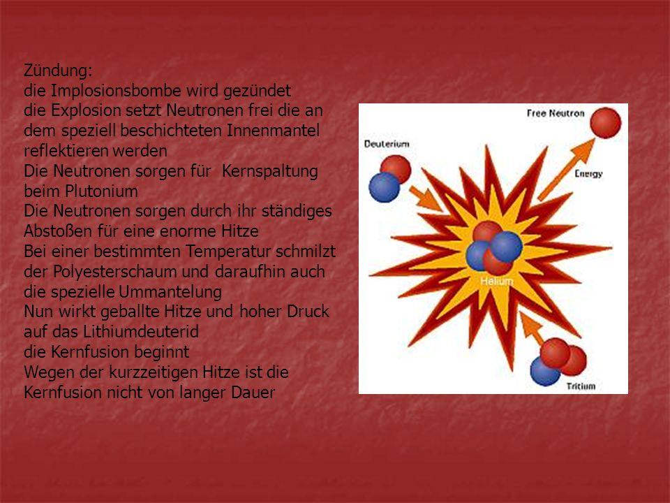 Zündung: die Implosionsbombe wird gezündet. die Explosion setzt Neutronen frei die an dem speziell beschichteten Innenmantel reflektieren werden.