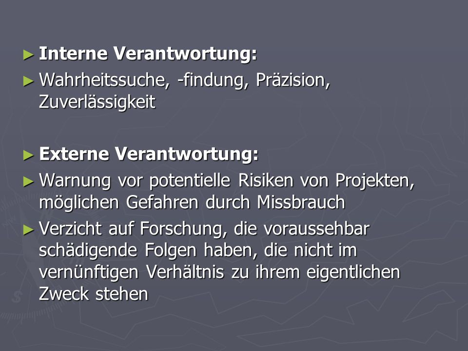 Interne Verantwortung: