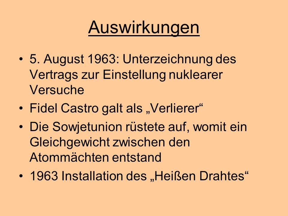 """Auswirkungen 5. August 1963: Unterzeichnung des Vertrags zur Einstellung nuklearer Versuche. Fidel Castro galt als """"Verlierer"""