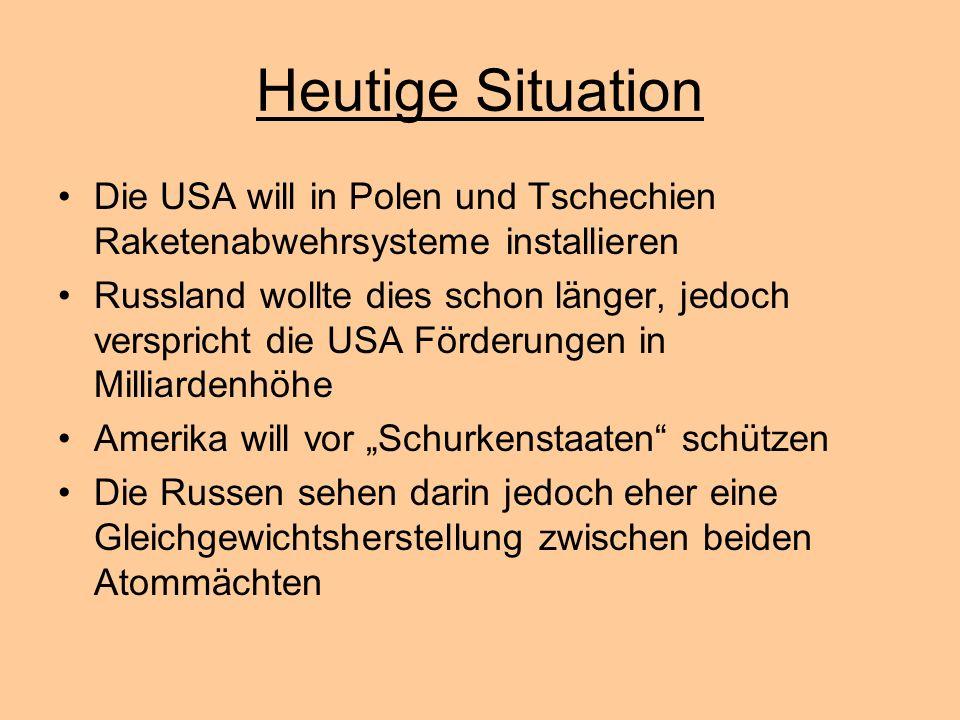Heutige Situation Die USA will in Polen und Tschechien Raketenabwehrsysteme installieren.