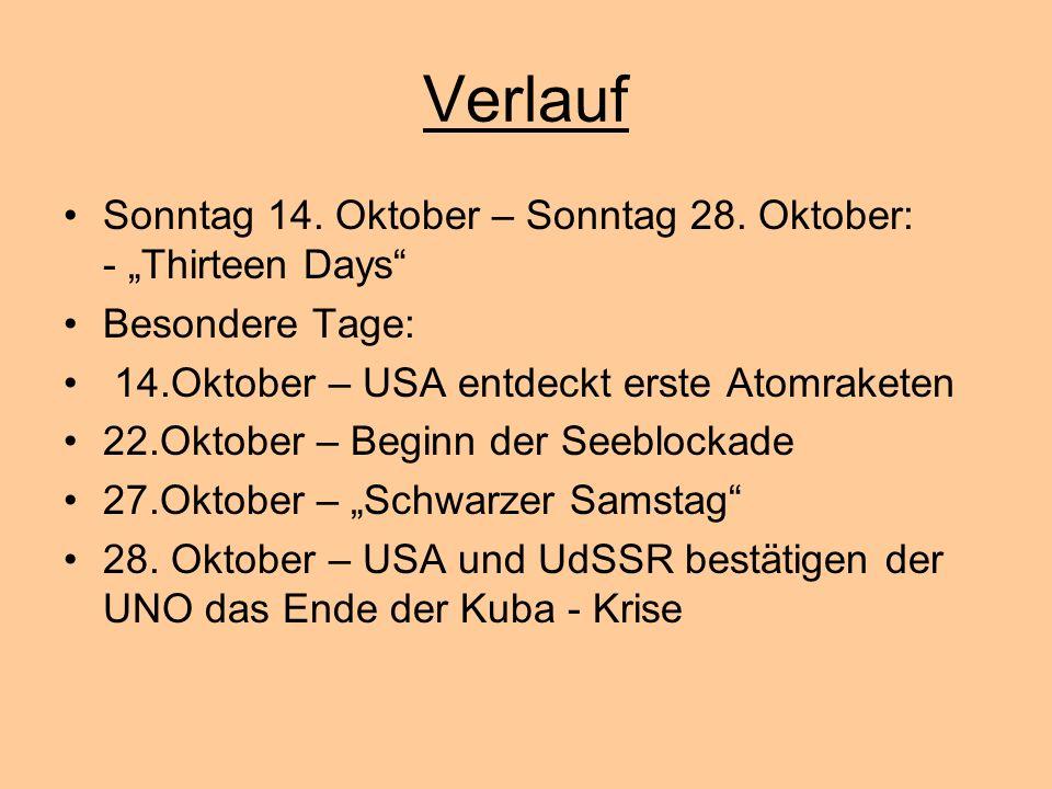 """Verlauf Sonntag 14. Oktober – Sonntag 28. Oktober: - """"Thirteen Days"""