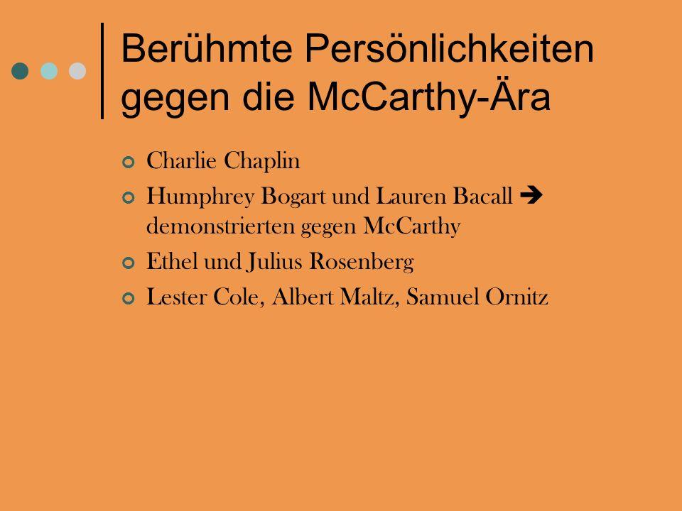 Berühmte Persönlichkeiten gegen die McCarthy-Ära