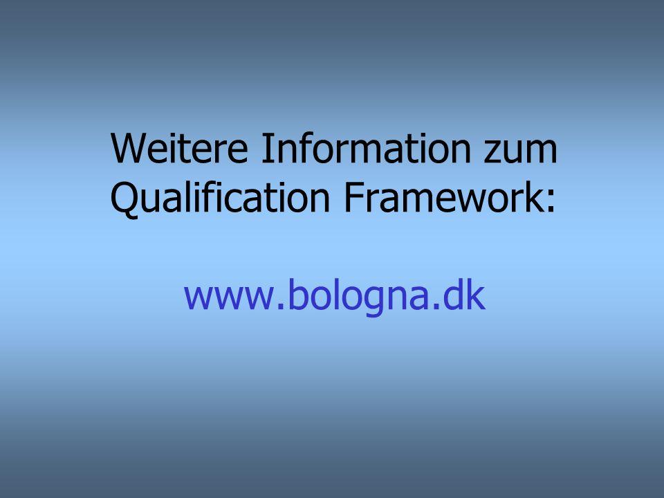 Weitere Information zum Qualification Framework: www.bologna.dk