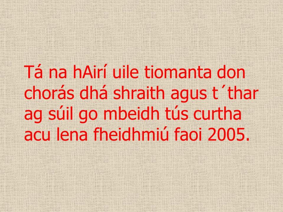 Tá na hAirí uile tiomanta don chorás dhá shraith agus t´thar ag súil go mbeidh tús curtha acu lena fheidhmiú faoi 2005.