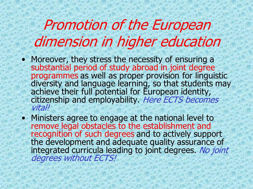 Promotion of the European dimension in higher education