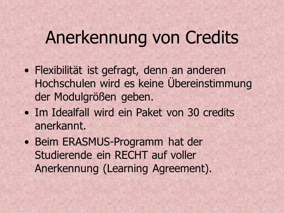 Anerkennung von Credits