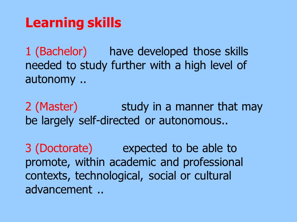 Learning skills 1 (Bachelor) have developed those skills needed to study further with a high level of autonomy ..
