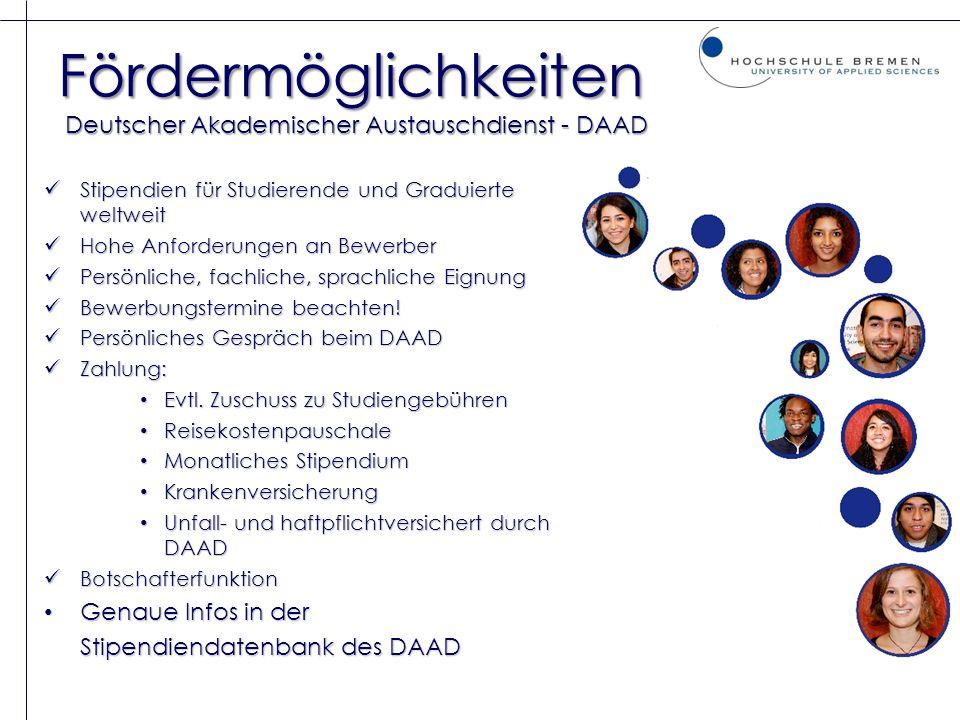 Fördermöglichkeiten Deutscher Akademischer Austauschdienst - DAAD