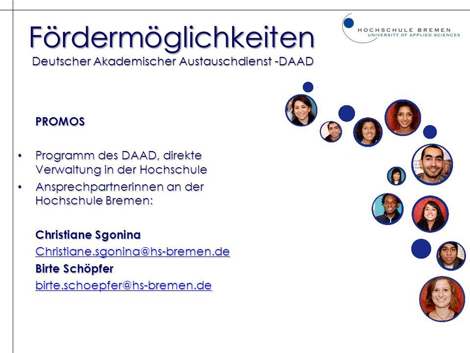 Fördermöglichkeiten Deutscher Akademischer Austauschdienst -DAAD
