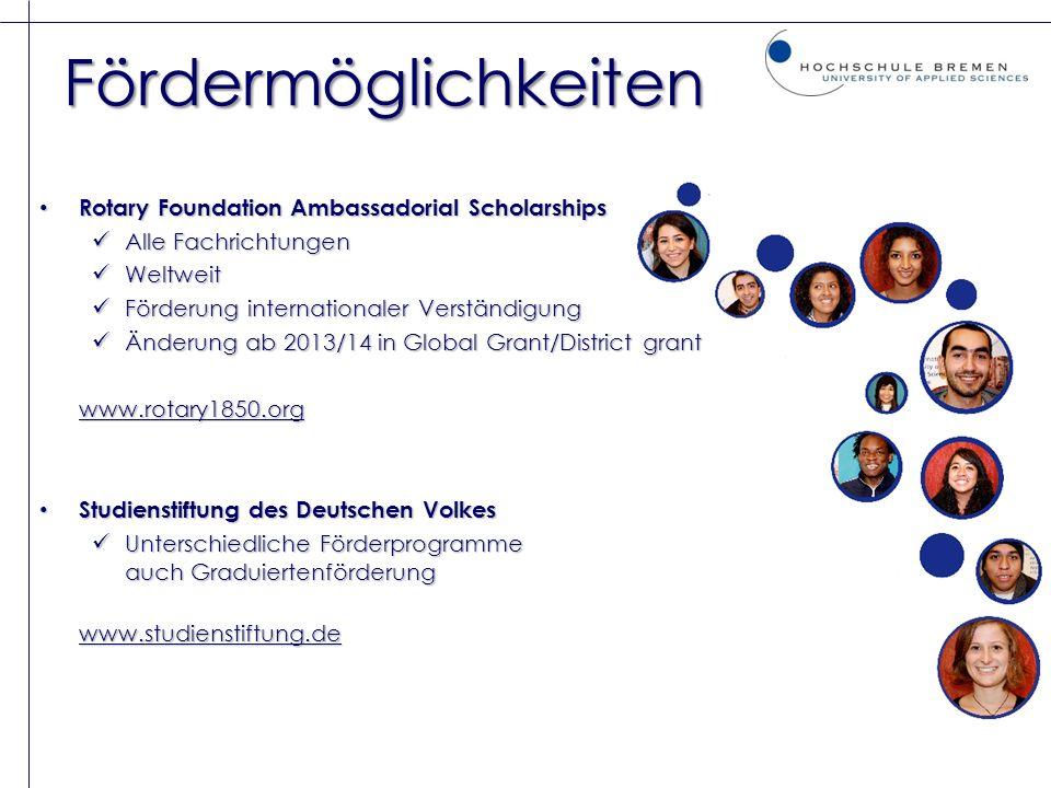 Fördermöglichkeiten Rotary Foundation Ambassadorial Scholarships