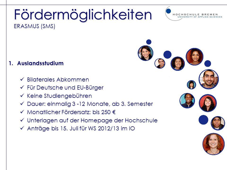 Fördermöglichkeiten ERASMUS (SMS)