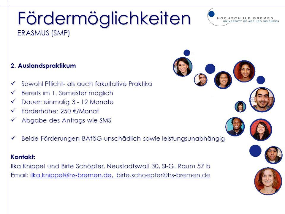 Fördermöglichkeiten ERASMUS (SMP)