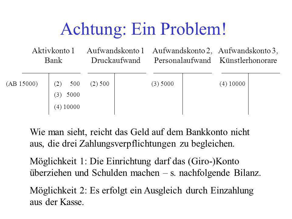 Achtung: Ein Problem! Aktivkonto 1 Bank. Aufwandskonto 1 Druckaufwand. Aufwandskonto 2, Personalaufwand.