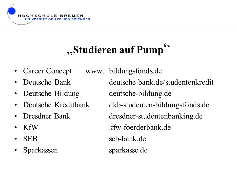 """Studieren auf Pump Career Concept www. bildungsfonds.de"
