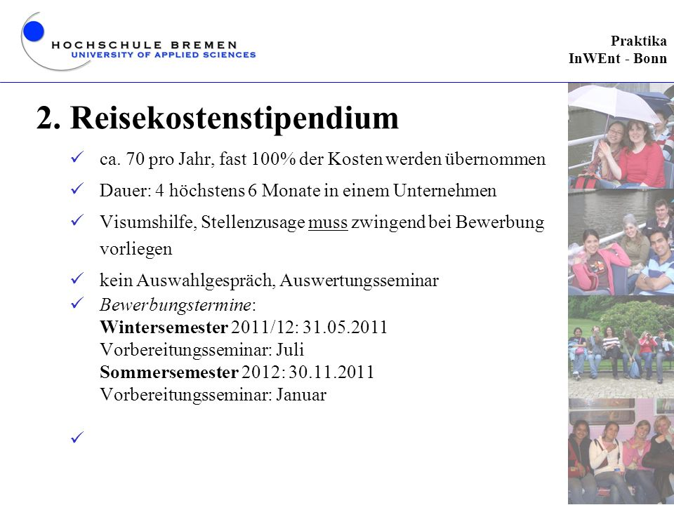 2. Reisekostenstipendium