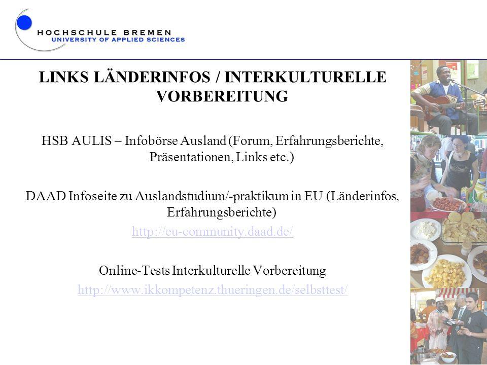 LINKS LÄNDERINFOS / INTERKULTURELLE VORBEREITUNG