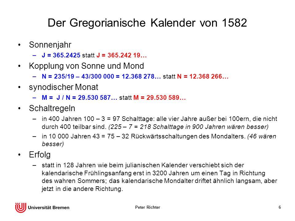 Der Gregorianische Kalender von 1582