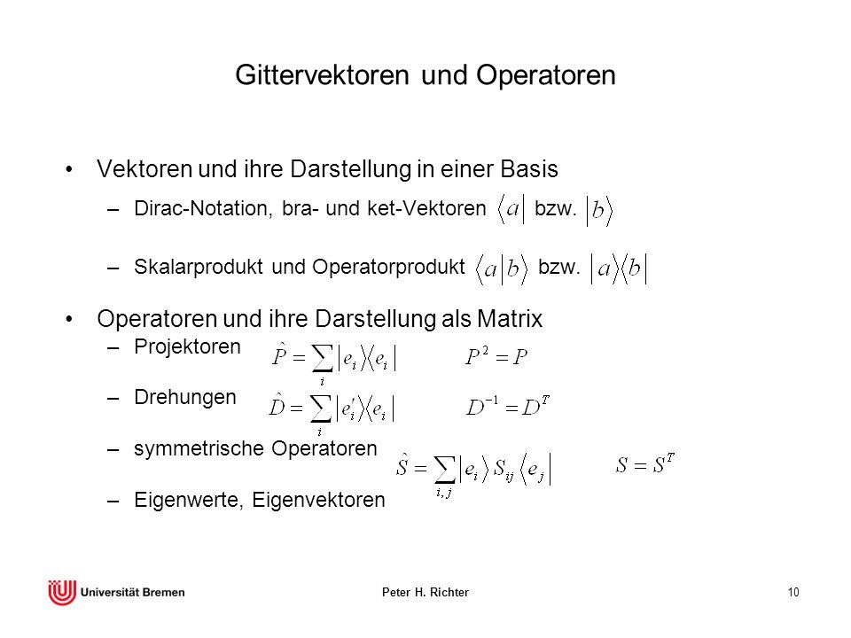 Gittervektoren und Operatoren