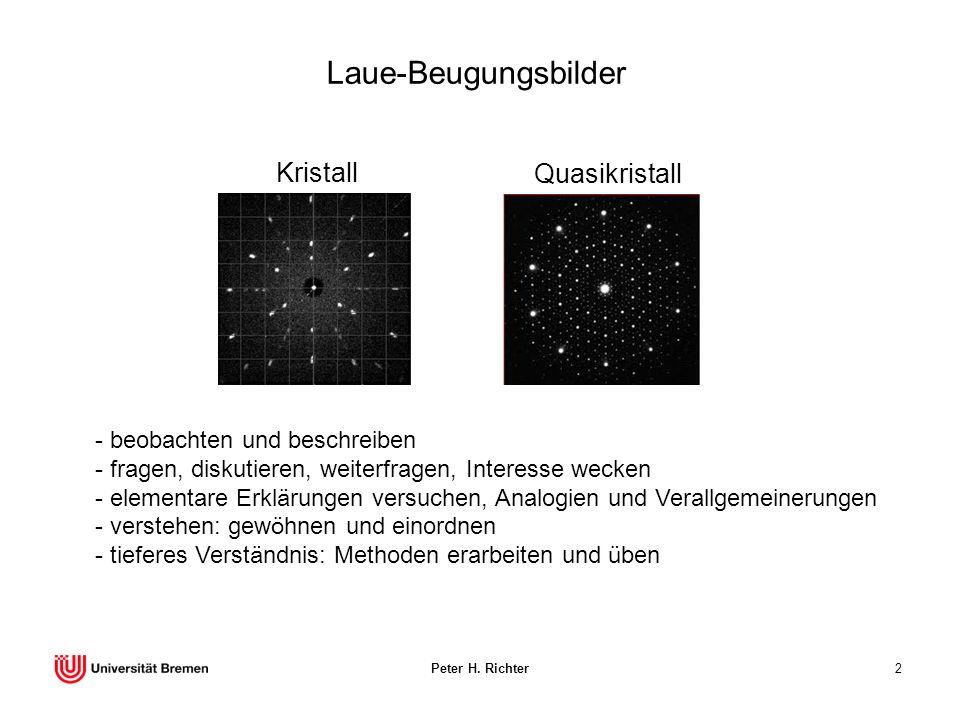 Laue-Beugungsbilder Kristall Quasikristall beobachten und beschreiben