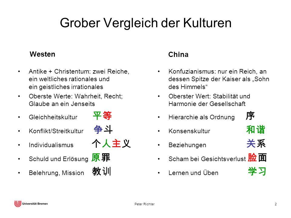 Grober Vergleich der Kulturen