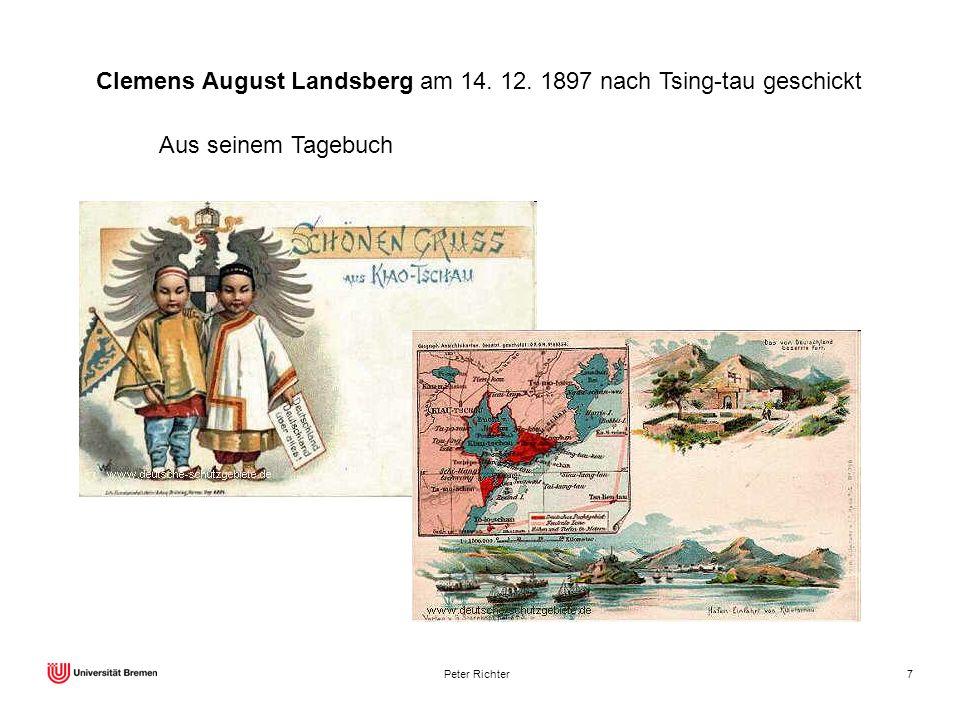 Clemens August Landsberg am 14. 12. 1897 nach Tsing-tau geschickt