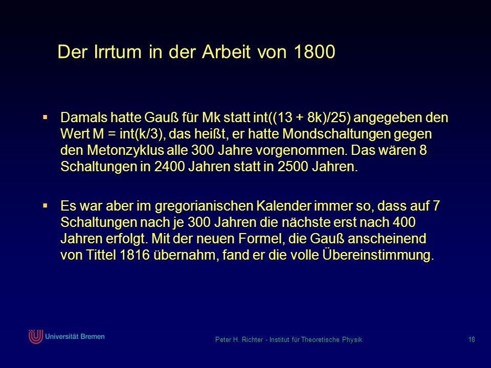 Der Irrtum in der Arbeit von 1800
