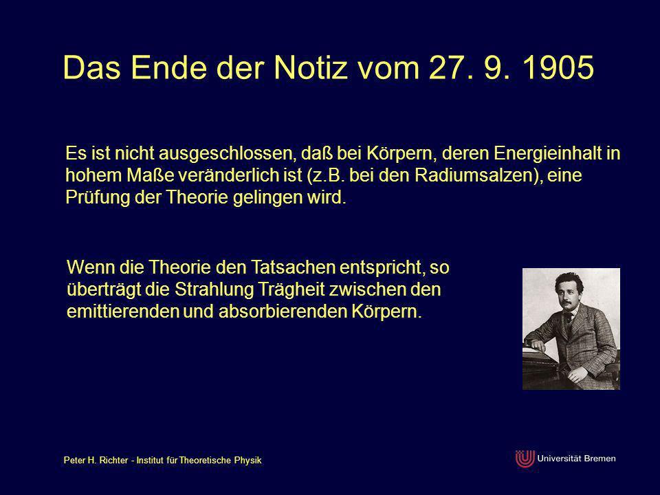 Das Ende der Notiz vom 27. 9. 1905