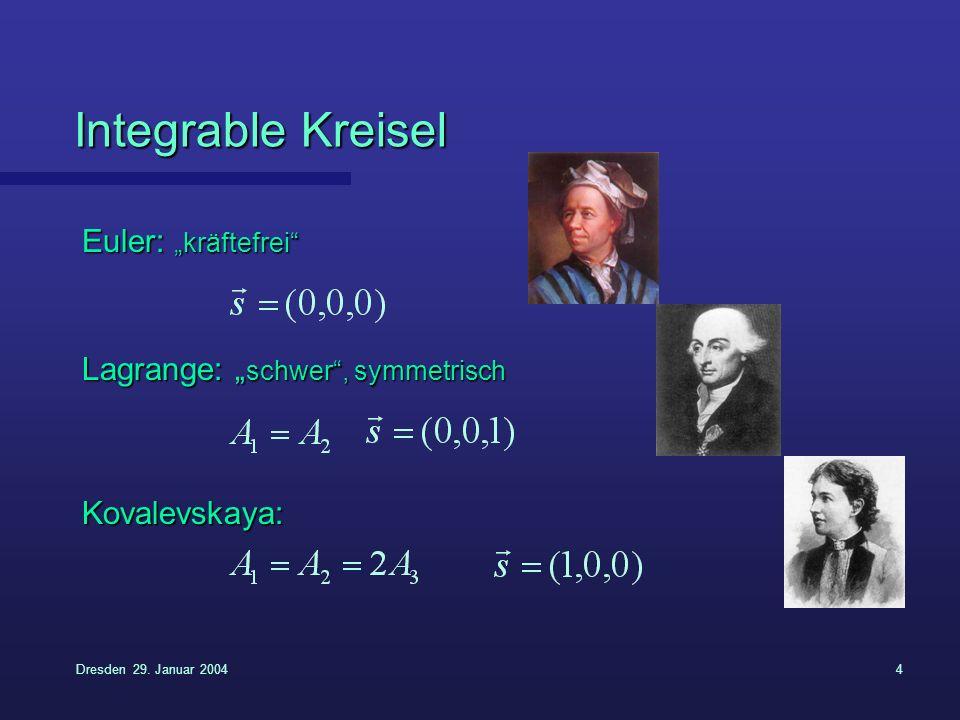 """Integrable Kreisel Euler: """"kräftefrei Lagrange: """"schwer , symmetrisch"""