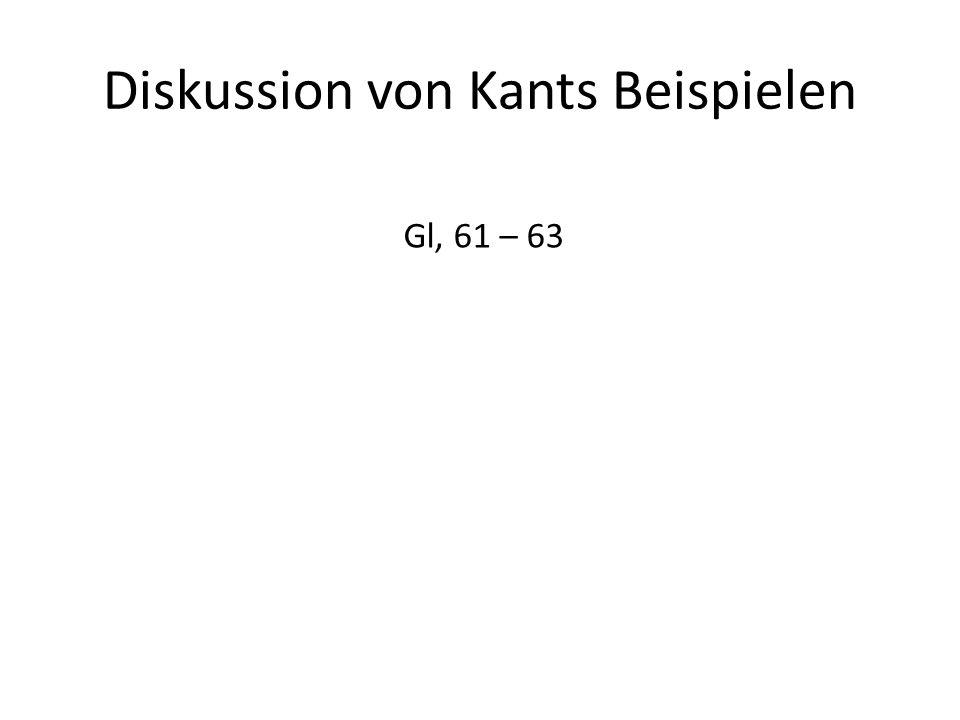 Diskussion von Kants Beispielen