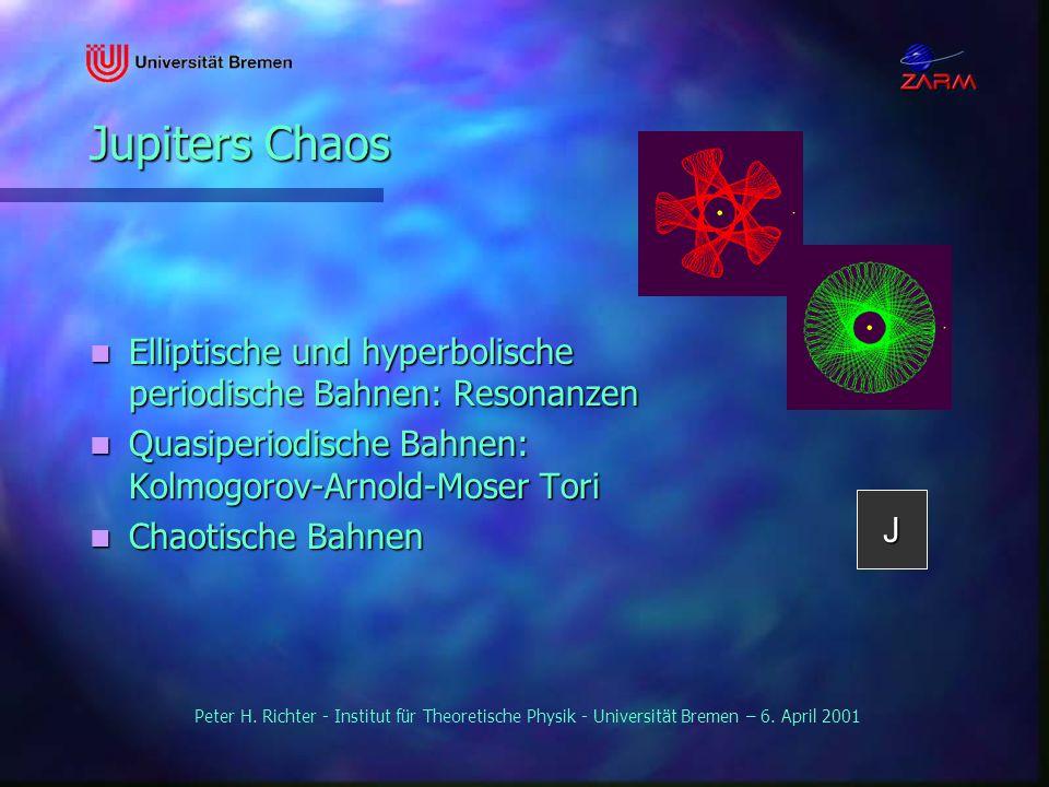 Jupiters Chaos Elliptische und hyperbolische periodische Bahnen: Resonanzen. Quasiperiodische Bahnen: Kolmogorov-Arnold-Moser Tori.