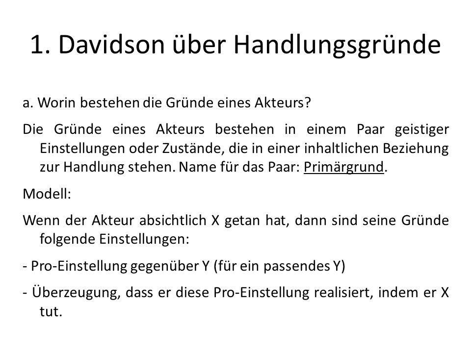 1. Davidson über Handlungsgründe