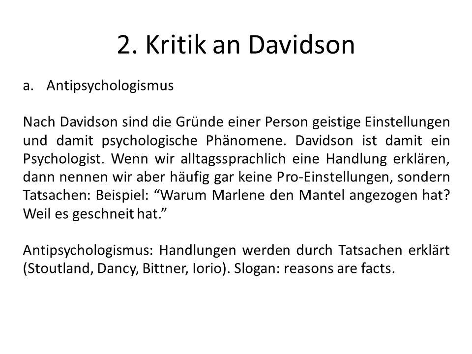 2. Kritik an Davidson Antipsychologismus