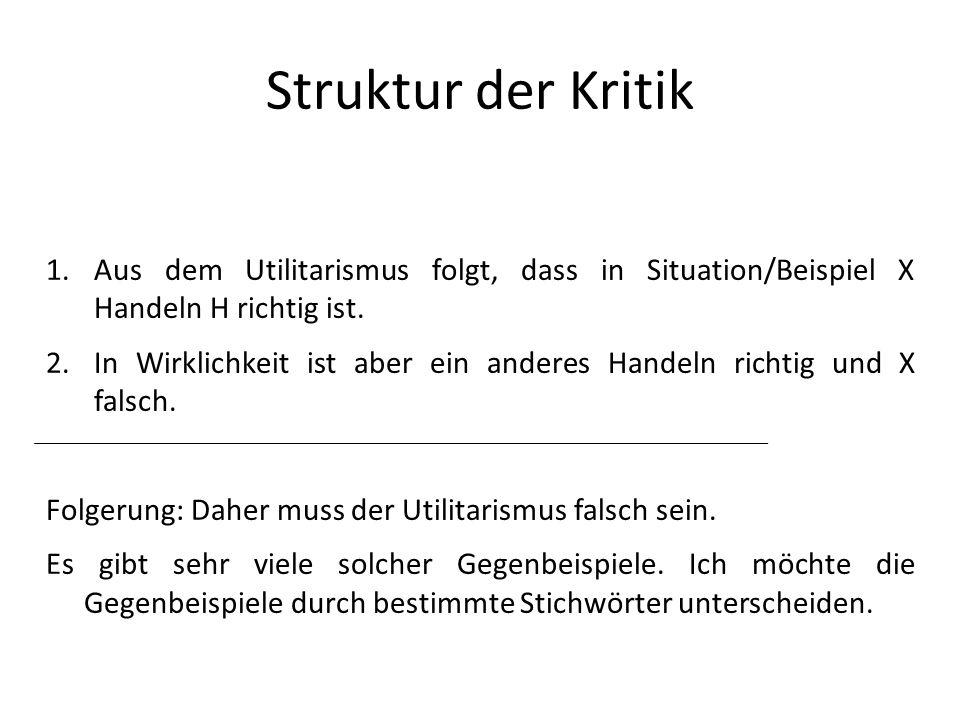 Struktur der Kritik Aus dem Utilitarismus folgt, dass in Situation/Beispiel X Handeln H richtig ist.
