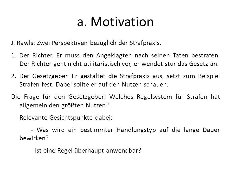 a. Motivation J. Rawls: Zwei Perspektiven bezüglich der Strafpraxis.