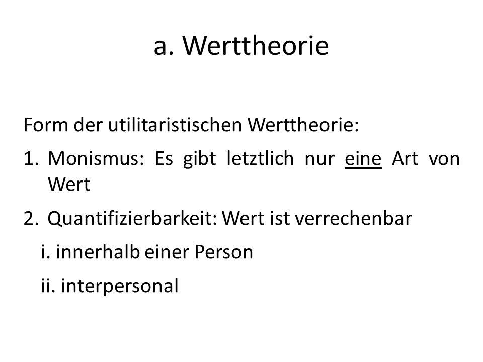 a. Werttheorie Form der utilitaristischen Werttheorie: