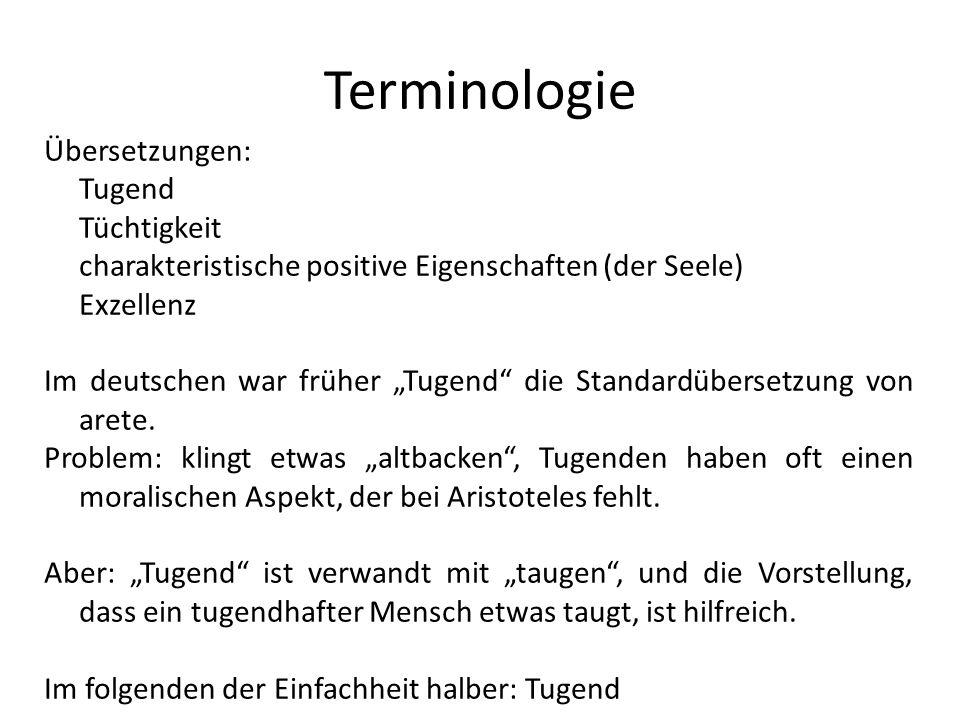 Terminologie Übersetzungen: Tugend Tüchtigkeit