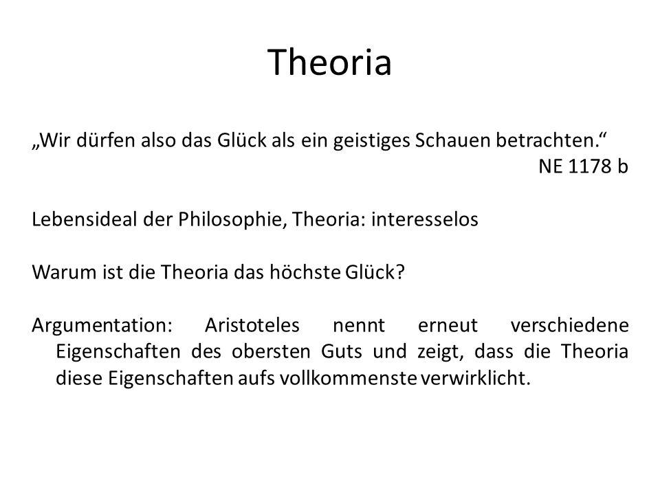 """Theoria """"Wir dürfen also das Glück als ein geistiges Schauen betrachten. NE 1178 b. Lebensideal der Philosophie, Theoria: interesselos."""